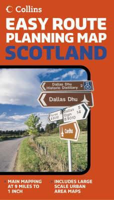 Collins Easy Route Planning Map Scotland: Main Mapping at 9 Miles to 1 Inch, Includes Large Scale Urban Area Maps