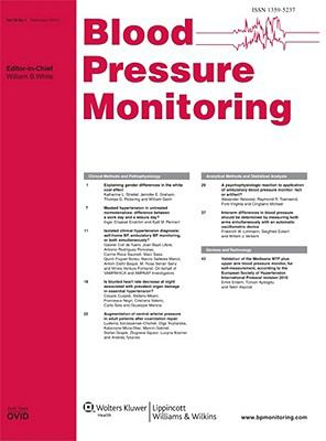 Blood Pressure Monitoring: An International Journal Devoted to Research in Blood Pressure Monitoring and Variability