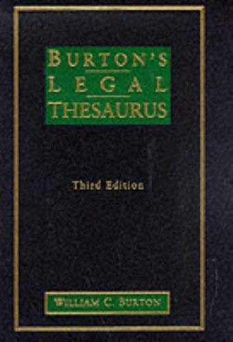 Burtons Legal Thesaurus, 3/E (1 Vol) 9780028649863