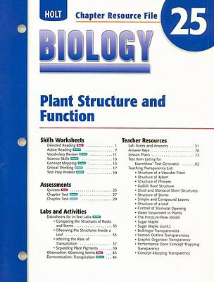 Holt Biology Chapter 25 Resource File: Plant Structure and Function