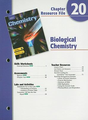 Holt Chemistry Chapter 20 Resource File: Biological Chemistry