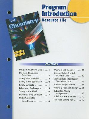 Holt Chemistry Program Introduction Resource File