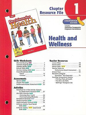 Holt Decisions for Health Chapter 1 Resource File, California Edition: Health and Wellness
