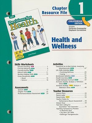 Holt Decisions for Health Chapter 1 Resource File: Health and Wellness: Level Green