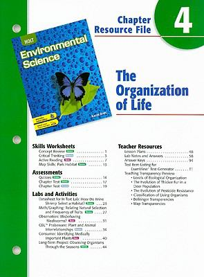 Holt Environmental Science Chapter 4 Resource File: The Organization of Life