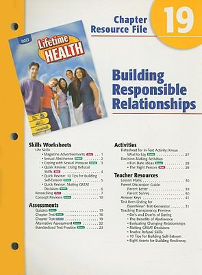 Holt Lifetime Health Chapter 19 Resource File: Building Responsible Relationships