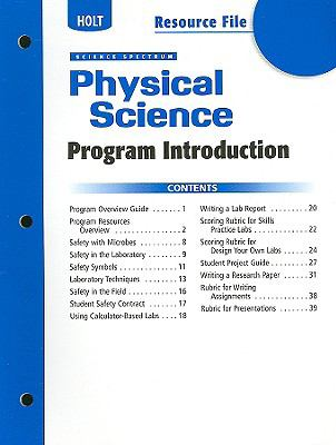 Holt Science Spectrum: Physical Science Resource File: Program Introduction