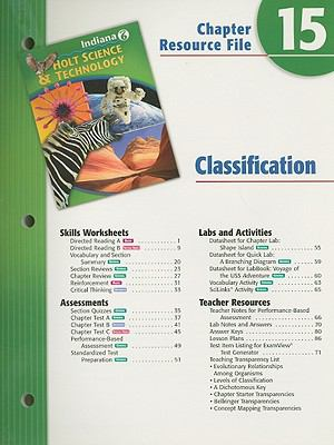 Holt Science & Technology Indiana Grade 6 Chapter 15 Resource File: Classification