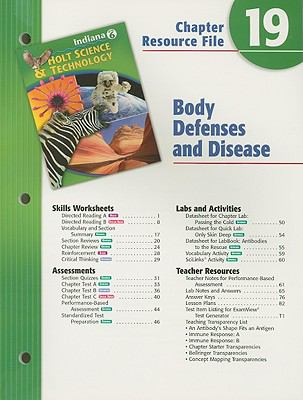 Holt Science & Technology Indiana Grade 6 Chapter 19 Resource File: Body Defenses and Disease