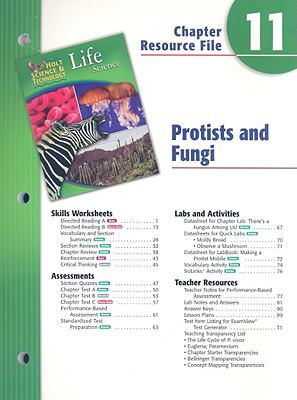 Holt Science & Technology Life Science Chapter 11 Resource File: Protists and Fungi