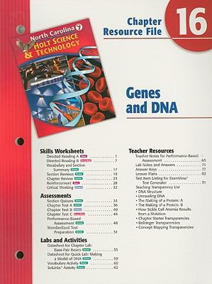 Holt Science & Technology North Carolina Chapter 16 Resource File: Genes and DNA, Grade 7