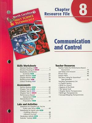 Holt Science & Technology North Carolina Chapter 8 Resource File: Communication and Control, Grade 7