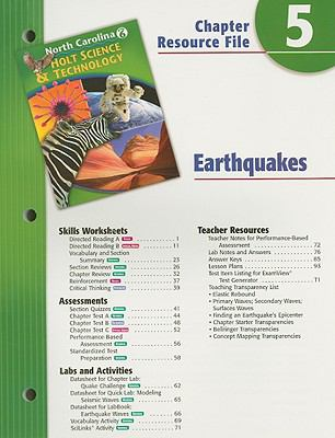 Holt Science & Technology North Carolina Grade 6 Chapter 5 Resource File: Earthquakes