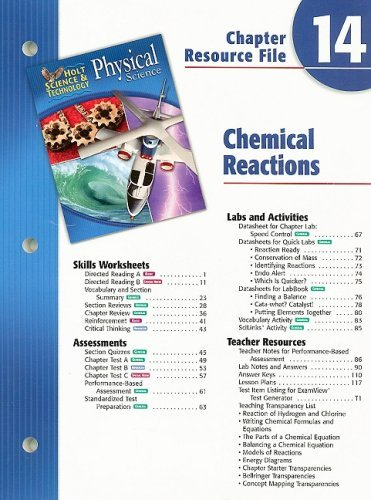 Holt Science & Technology Physical Science Chapter 14 Resource File: Chemical Reactions