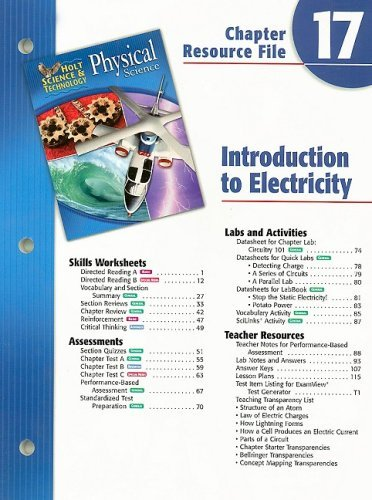 Holt Science & Technology Physical Science Chapter 17 Resource File: Introduction to Electricity