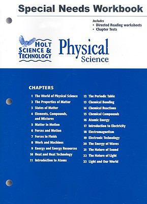 Holt Science & Technology Physical Science Special Needs Workbook