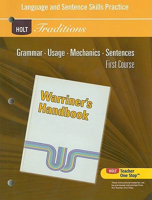Holt Traditions Warriner's Handbook Language and Sentence Skills Practice, First Course