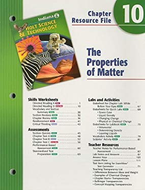 Indiana Holt Science & Technology Chapter 10 Resource File: The Properties of Matter: Grade 6
