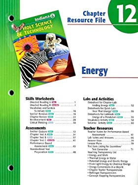 Indiana Holt Science & Technology Chapter 12 Resource File: Energy: Grade 6