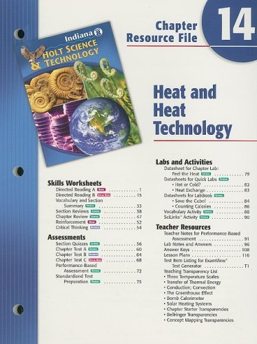 Indiana Holt Science & Technology Chapter 14 Resource File, Grade 8: Heat and Heat Technology