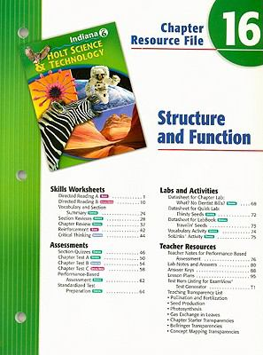 Indiana Holt Science & Technology Chapter 16 Resource File: Structure and Function: Grade 6