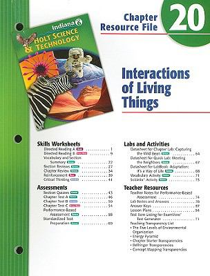 Indiana Holt Science & Technology Chapter 20 Resource File: Interactions of Living Things: Grade 6