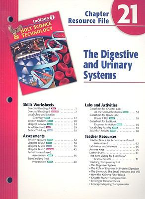 Indiana Holt Science & Technology Chapter 21 Resource File: The Digestive and Urinary Systems
