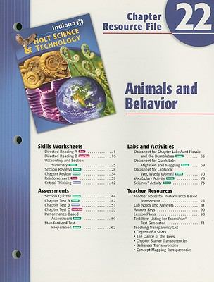 Indiana Holt Science & Technology Chapter 22 Resource File, Grade 8: Animals and Behavior