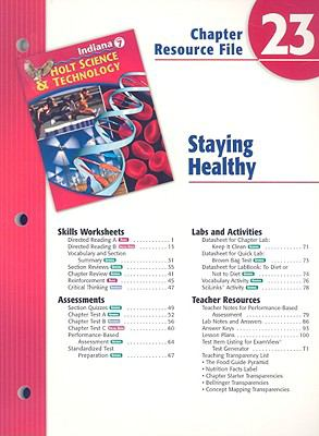 Indiana Holt Science & Technology Chapter 23 Resource File: Staying Healthy