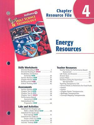 Indiana Holt Science & Technology Chapter 4 Resource File: Energy Resources