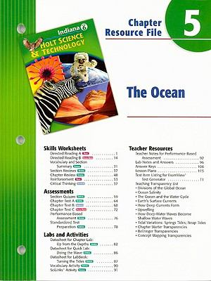 Indiana Holt Science & Technology Chapter 5 Resource File: The Ocean: Grade 6