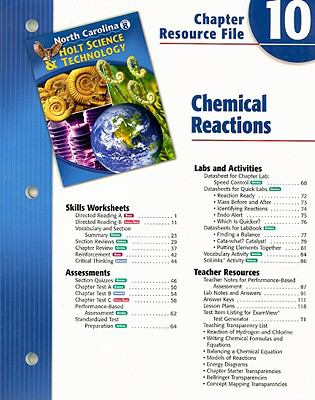 North Carolina Holt Science & Technology Chapter 10 Resource File: Chemical Reactions