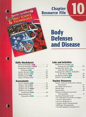North Carolina Holt Science & Technology Chapter 10 Resource File: Body Defenses and Disease: Grade 7