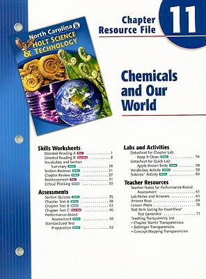 North Carolina Holt Science & Technology Chapter 11 Resource File: Chemicals and Our World