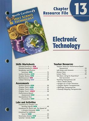 North Carolina Holt Science & Technology Chapter 13 Resource File: Electronic Technology, Grade 8