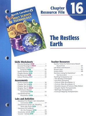 North Carolina Holt Science & Technology Chapter 16 Resource File: The Restless Earth