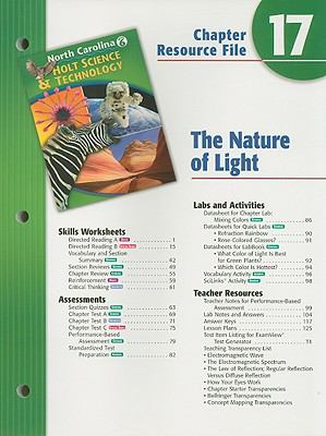 North Carolina Holt Science & Technology Chapter 17 Resource File: The Nature of Light, Grade 6