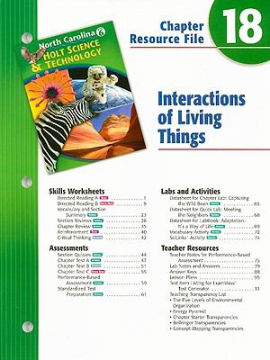 North Carolina Holt Science & Technology Chapter 18 Resource File: Interactions of Living Things