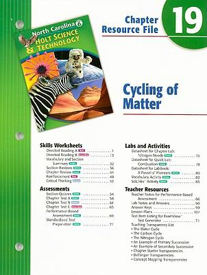 North Carolina Holt Science & Technology Chapter 19 Resource File: Cycling of Matter: Grade 6