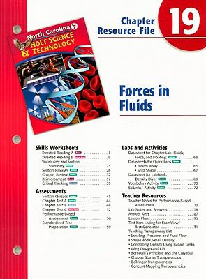 North Carolina Holt Science & Technology Chapter 19 Resource File: Forces in Fluids: Grade 7