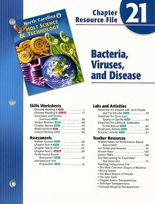 North Carolina Holt Science & Technology Chapter 21 Resource File: Bacteria, Viruses, and Disease