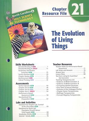 North Carolina Holt Science & Technology Chapter 21 Resource File: The Evolution of Living Things