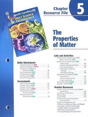 North Carolina Holt Science & Technology Chapter 5 Resource File: The Properties of Matter