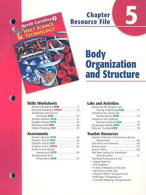 North Carolina Holt Science & Technology Chapter 5 Resource File: Body Organization and Structure