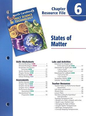 North Carolina Holt Science & Technology Chapter 6 Resource File: States of Matter