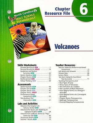 North Carolina Holt Science & Technology Chapter 6 Resource File: Volcanoes: Grade 6