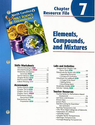 North Carolina Holt Science & Technology Chapter 7 Resource File: Elements, Compounds, and Mixtures