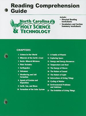 North Carolina Holt Science & Technology Grade 6 Reading Comprehension Guide