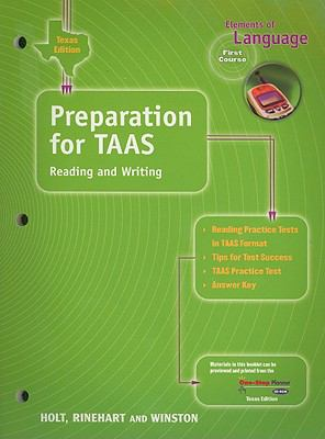 Texas Edition Preparation for TAAS Reading and Writing: Elements of Language, First Course