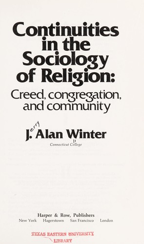 Continuities in the Sociology of Religion